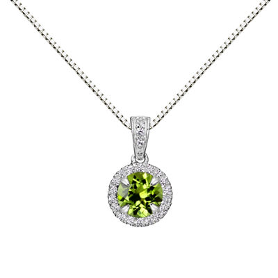 Womens Genuine Green Peridot Sterling Silver Round Pendant Necklace