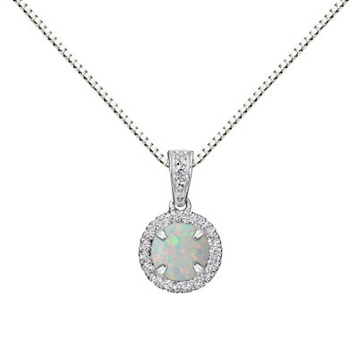 Womens Multi Color Opal Sterling Silver Pendant Necklace