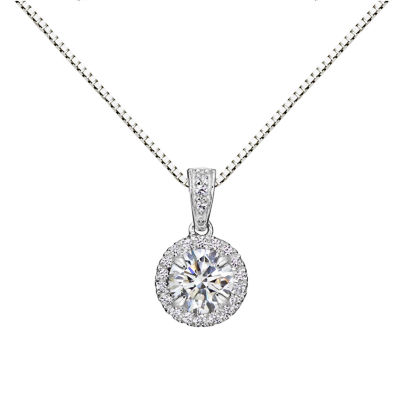 Womens Lab Created White Sapphire Sterling Silver Round Pendant Necklace