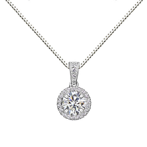 Womens White Sapphire Sterling Silver Pendant Necklace