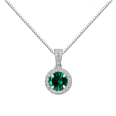 Womens Lab Created Gray Emerald Sterling Silver Round Pendant Necklace