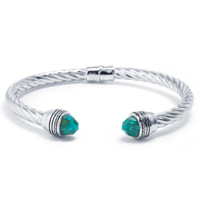 Womens Enhanced Turquoise Sterling Silver Bangle Bracelet