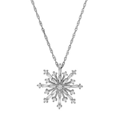 Cubic Zirconia Sterling Silver Snowflake Pendant