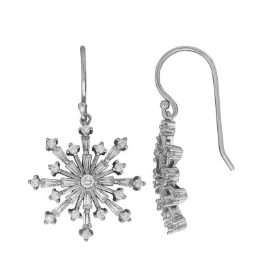 Cubic Zirconia Snowflake Sterling Silver Drop Earrings