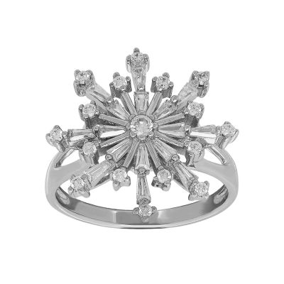 Womens Cubic Zirconia Snowflake Sterling Silver Cocktail Ring