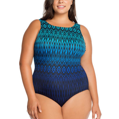 Robby Len By Longitude Tonal One Piece Swimsuit Plus