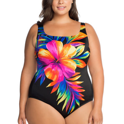 Robby Len By Longitude Floral One Piece Swimsuit Plus