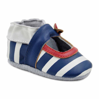 Soft Sole Leather Crib Bootie Baby Shoes - Striped