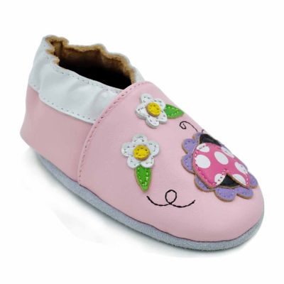 Soft Sole Leather Crib Bootie Baby Shoes - Lucky Ladybug