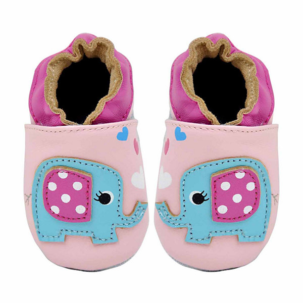 Soft Sole Leather Crib Bootie Baby Shoes - Happy Elephant