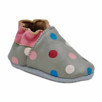 Soft Sole Leather Crib Bootie Baby Shoes - Pretty Dots