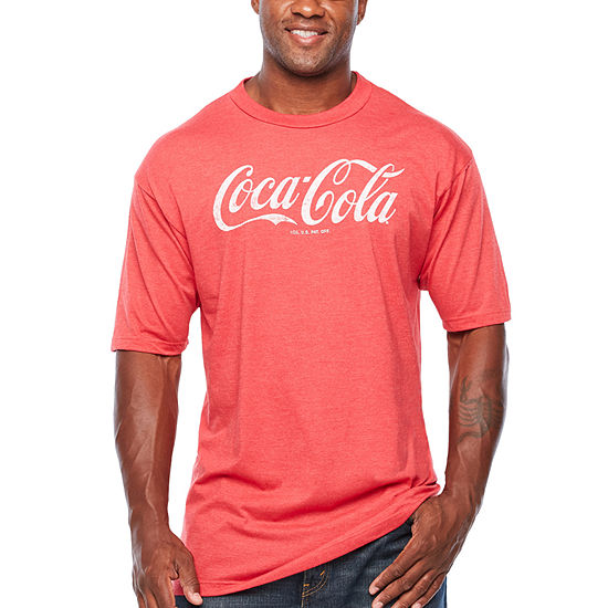 Coca Cola Mens Crew Neck Short Sleeve Graphic T-Shirt-Big and Tall