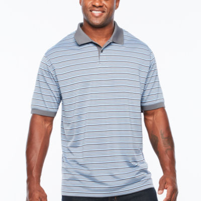 Claiborne Short Sleeve Stripe Knit Polo Shirt Big and Tall