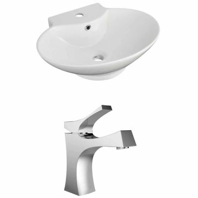 American Imaginations 22.75-in. W Wall Mount White Vessel Set For 1 Hole Center Faucet - Faucet Included