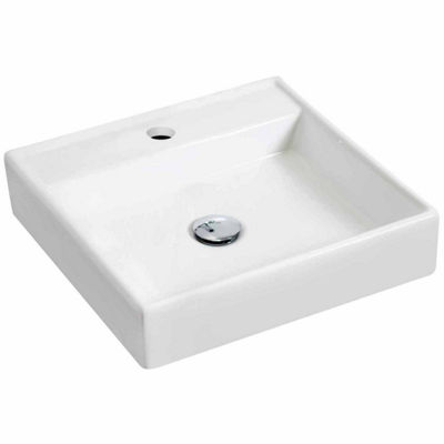American Imaginations 17.5-in. W Wall Mount White Vessel Set For 1 Hole Center Faucet - Faucet Included
