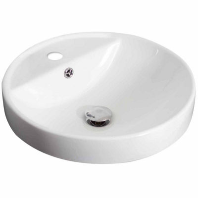 American Imaginations 18.25-in. W Drop In White Vessel Set For 1 Hole Center Faucet - Faucet Included