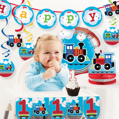 Creative Converting All Aboard Train 1st BirthdayParty Decorations Kit