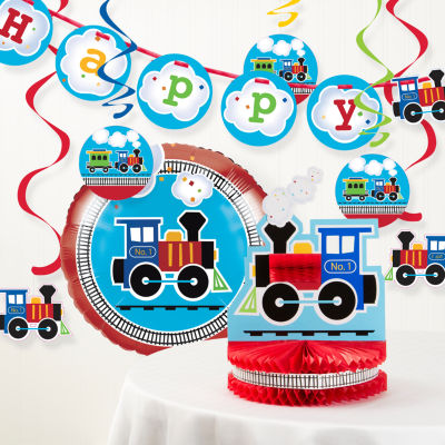 Creative Converting All Aboard Train Birthday Party Decorations Kit