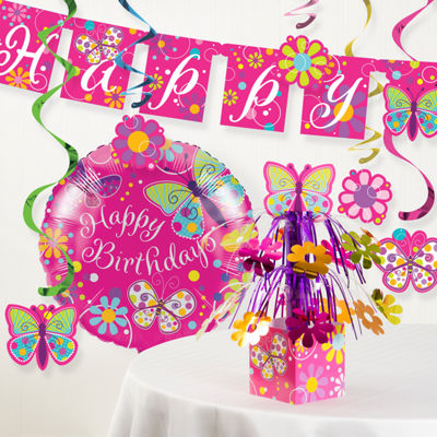 Creative Converting Butterfly Birthday Party Decorations Kit