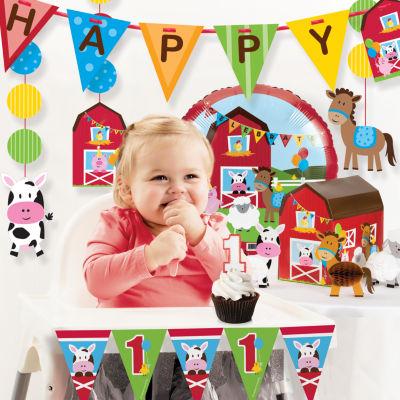 Creative Converting Farm Fun 1st Birthday Party Decorations Kit