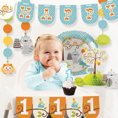 Creative Converting Happi Woodland Boy 1st Birthday Party Decorations Kit