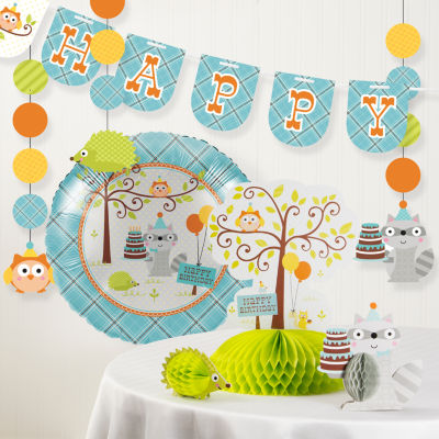 Creative Converting Happi Woodland Boy Birthday Party Decorations Kit