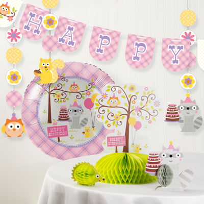 Creative Converting Happi Woodland Girl Birthday Party Decorations Kit