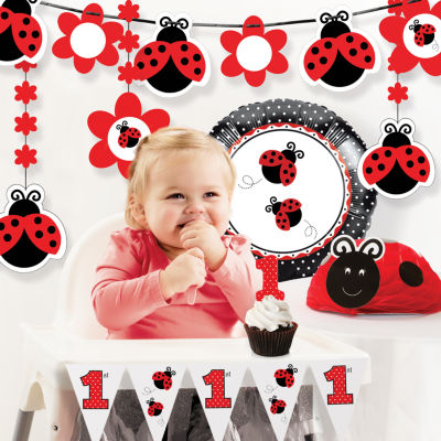 Creative Converting Ladybug Fancy 1st Birthday Party Decorations Kit
