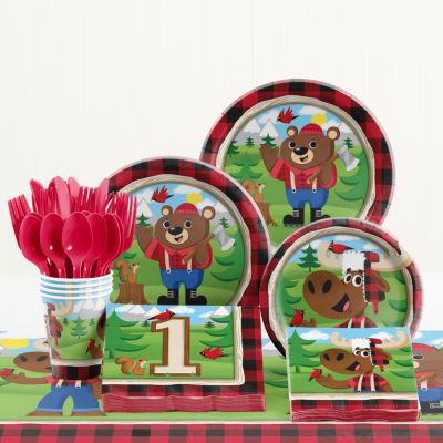 Creative Converting Lum-Bear Jack 1st Birthday Party Supplies Kit
