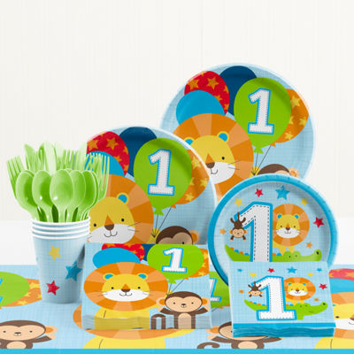 Creative Converting One is Fun Boy 1st Birthday Party Supplies Kit