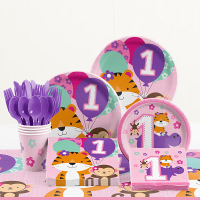 Creative Converting One is Fun Girl 1st Birthday Party Supplies Kit
