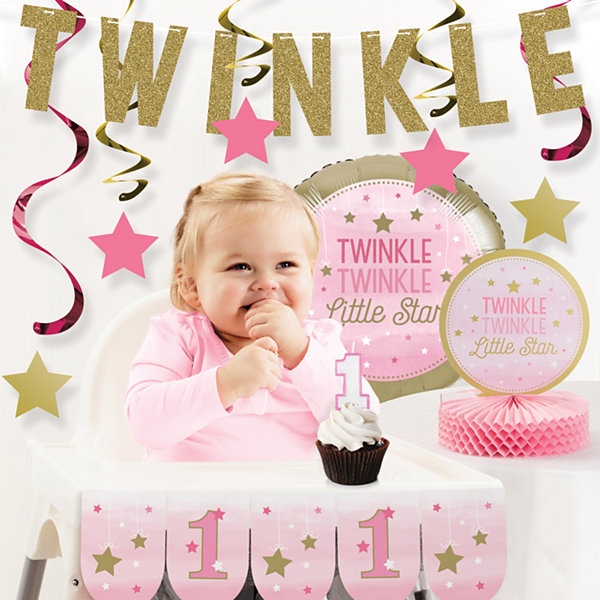 Creative Converting One Little Star Girl 1st Birthday Party Decorations Kit