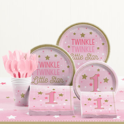 Creative Converting One Little Star Girl 1st Birthday Party Supplies Kit