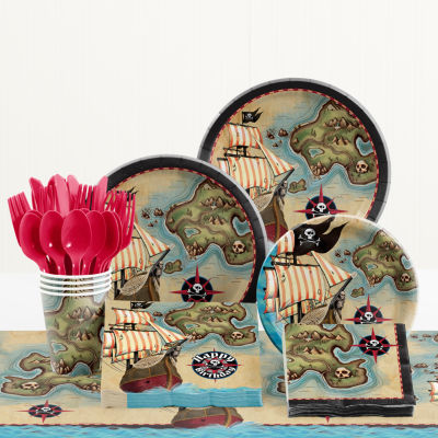 Creative Converting Pirate's Map Birthday Party Supplies Kit