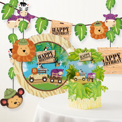 Creative Converting Safari Adventure Birthday Party Decorations Kit