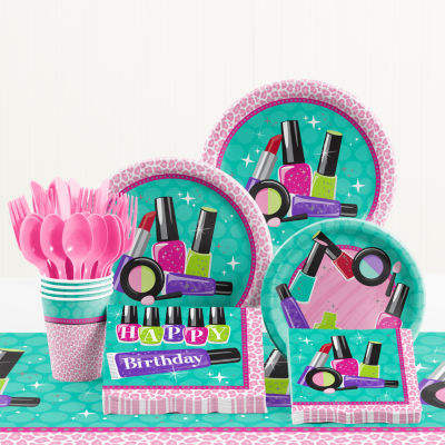 Creative Converting Sparkle Spa Birthday Party Supplies Kit