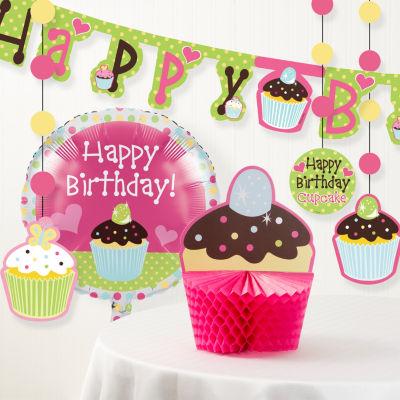 Creative Converting Sweet Treat Cupcake Birthday Party Decorations Kit