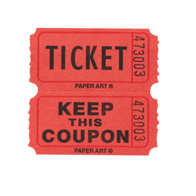Creative Converting Ticket Roll - 50/50 Red/Bl/Or/Gr 4 ct