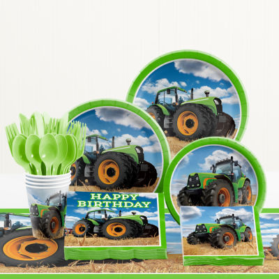 Creative Converting Tractor Time Birthday Party Supplies Kit