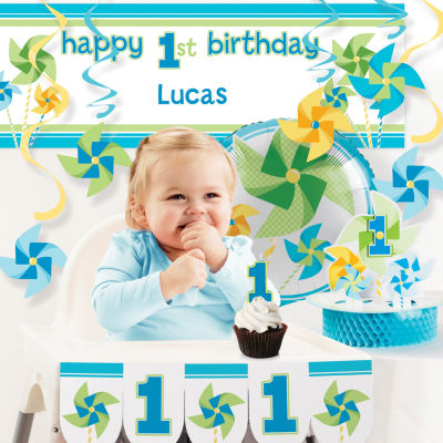Creative Converting Turning One Boy 1st Birthday Party Decorations Kit