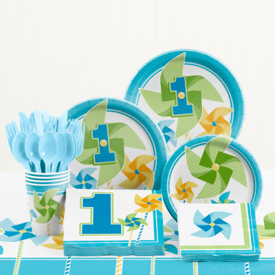 Creative Converting Turning One Boy 1st Birthday Party Supplies Kit