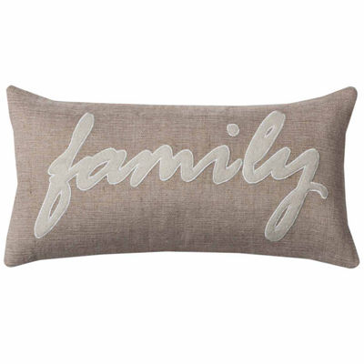 "Rizzy Home Family Word Rectangular Throw Pillow -11"" x 21"""