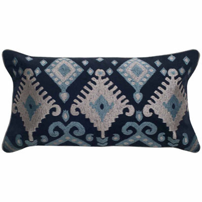 "Rizzy Home Ikat Flourishes Rectangular Throw Pillow - 11"" x 21"""