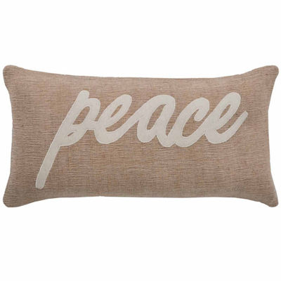 "Rizzy Home Peace Word Rectangular Throw Pillow - 11"" x 21"""