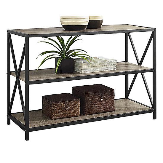"40"" X-Frame Metal and Wood Media Bookshelf"