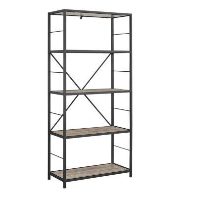 """60"""" Rustic Metal and Wood Media Bookshelf"""