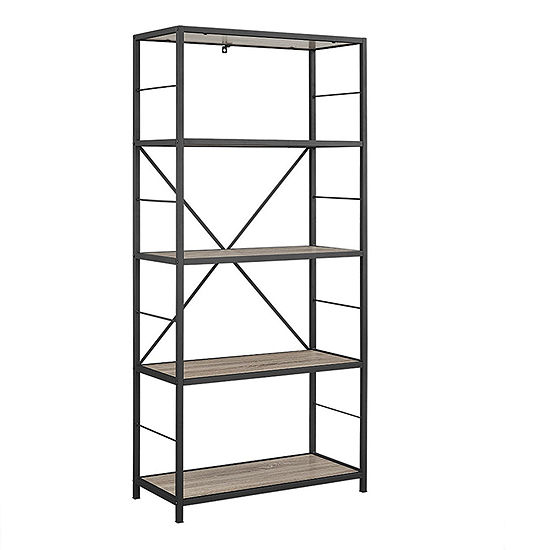 "60"" Rustic Metal and Wood Media Bookshelf"