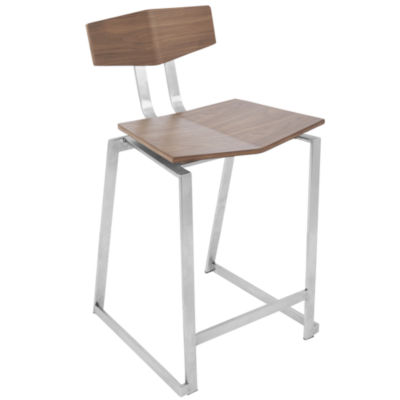 Flight Contemporary Stainless Steel Counter Stools in Walnut Wood by LumiSource - Set of 2