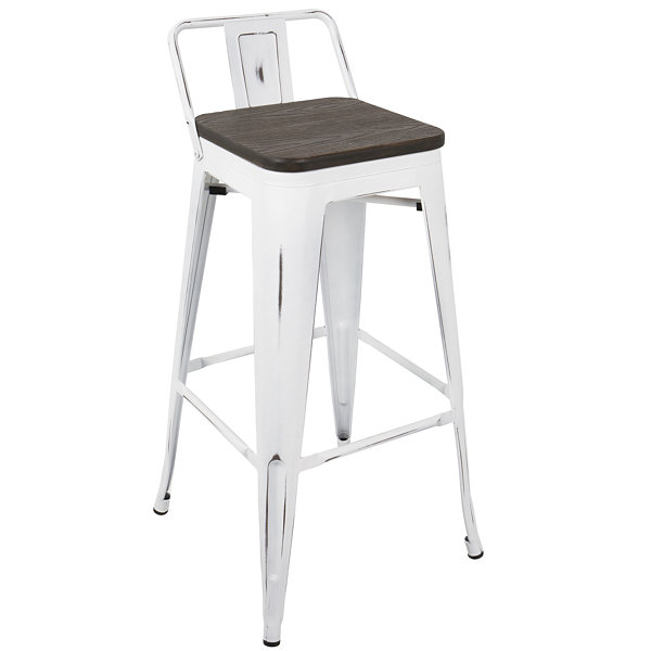 Oregon Industrial Low Back Bar Stool by LumiSource- Set of 2