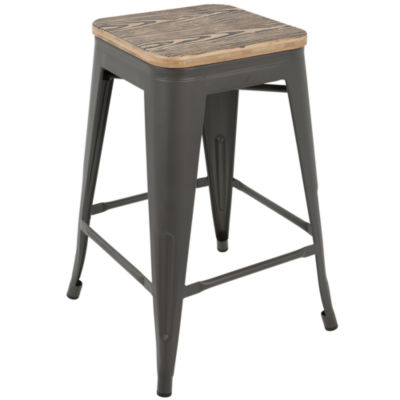 Oregon Industrial Stackable Counter Stools by LumiSource - Set of 2